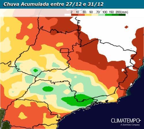 Gráfico de chuva acumulada entre 27/12 a 31/12/2020