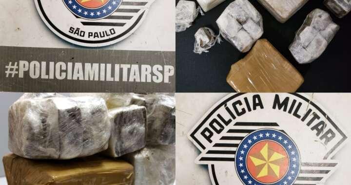 PMs da ROCAM de Pirassununga prende suspeito com cerca de 2 kg de droga